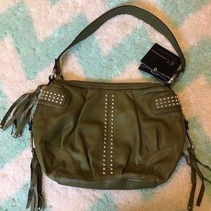 nwt B MAKOWSKY olive green studded leather bag